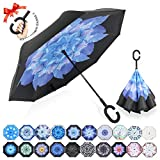 : ZOMAKE Double Layer Inverted Umbrellas for Women, Reverse Folding Umbrella Windproof UV Protection Big Straight Umbrella for Car Rain Outdoor With C-Shaped Handle(Blue Magnolia)