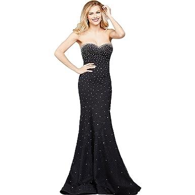 Jovani Rhinestone Strapless Formal Dress Black 0