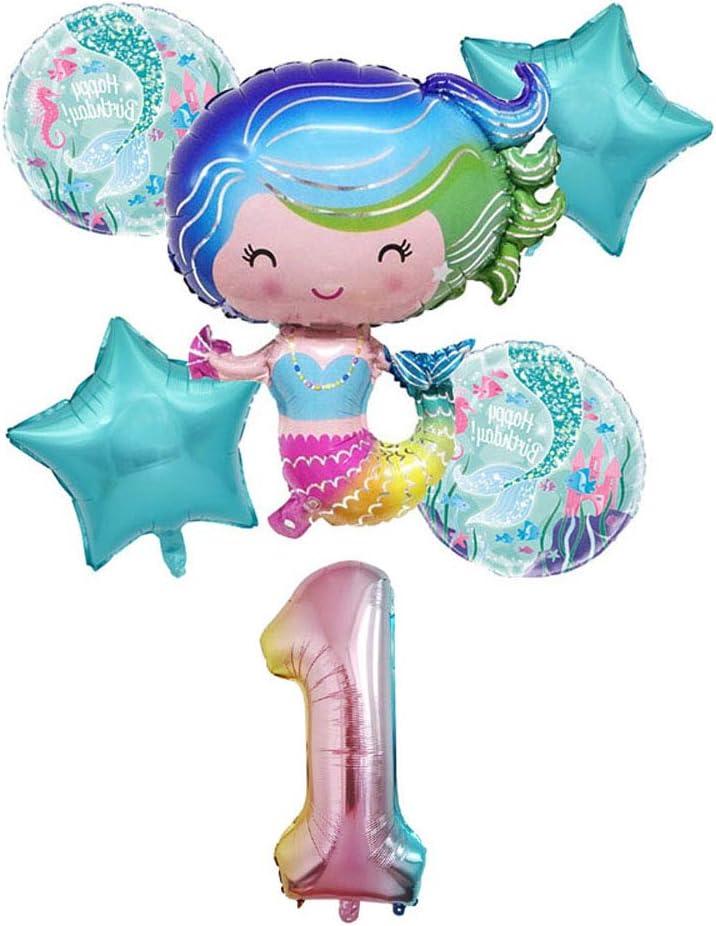 Hongkai Mermaid 1st Birthday Girl Decoration Boy Supplies Foil Balloons Set,32inch Number 1 Mylar Balloons Happy Birthday Banner Baby First Birthday Party Supplies