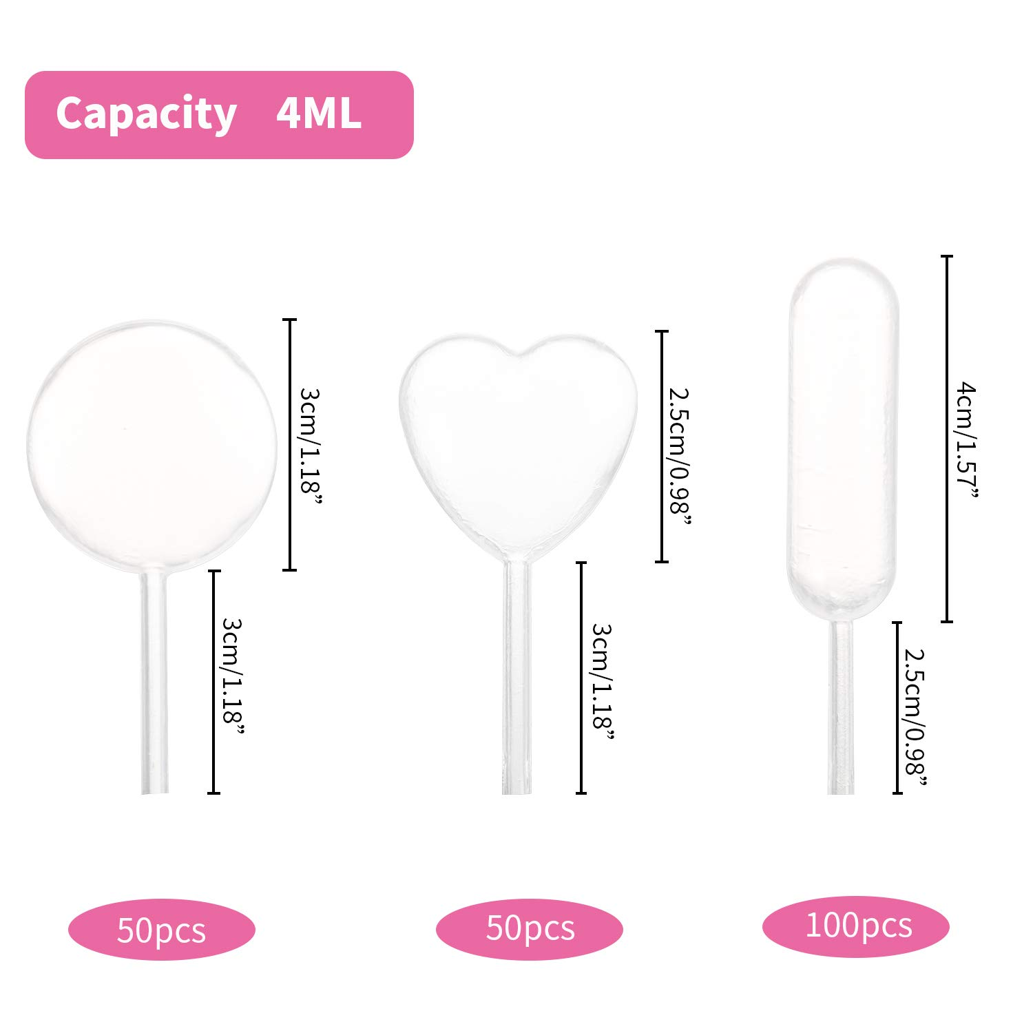 Disposable Mini Squeeze Transfer Pipettes 3 Shape Droppers for Cupcake 200PCS 4ML Plastic Cupcake Pipettes Dessert Strawberries and Chocolate