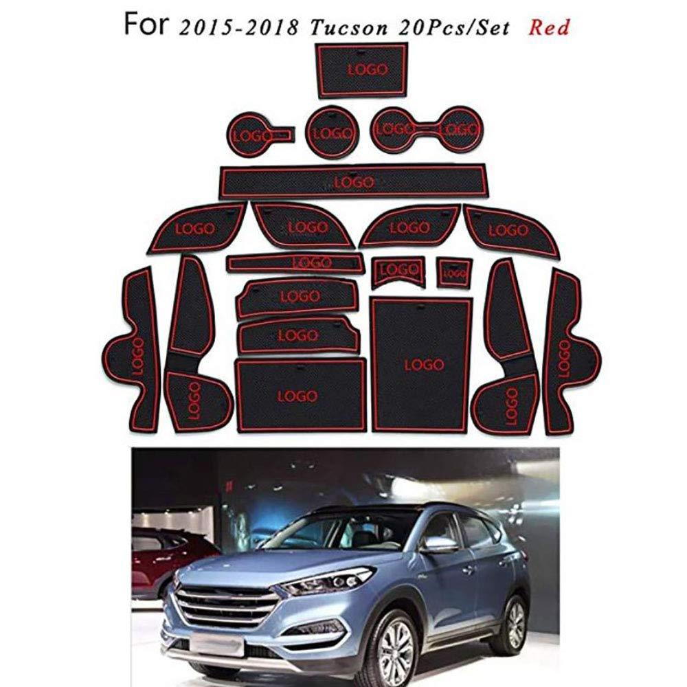 Car Cushion Non-Slip Gate Slot Pad Cup Mat Car Interior Door Slot Pad Automotive Decoration for Tucson 2015-2018 20pcs//Set