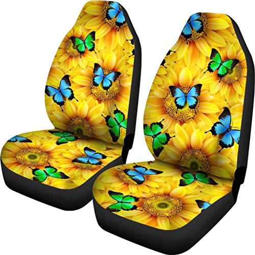 FreedomLook Sunflowers & Butterflies Universal Car Front Seat Covers (Set Of 2) - Custom Seat Protector Sunflower Lover Gift