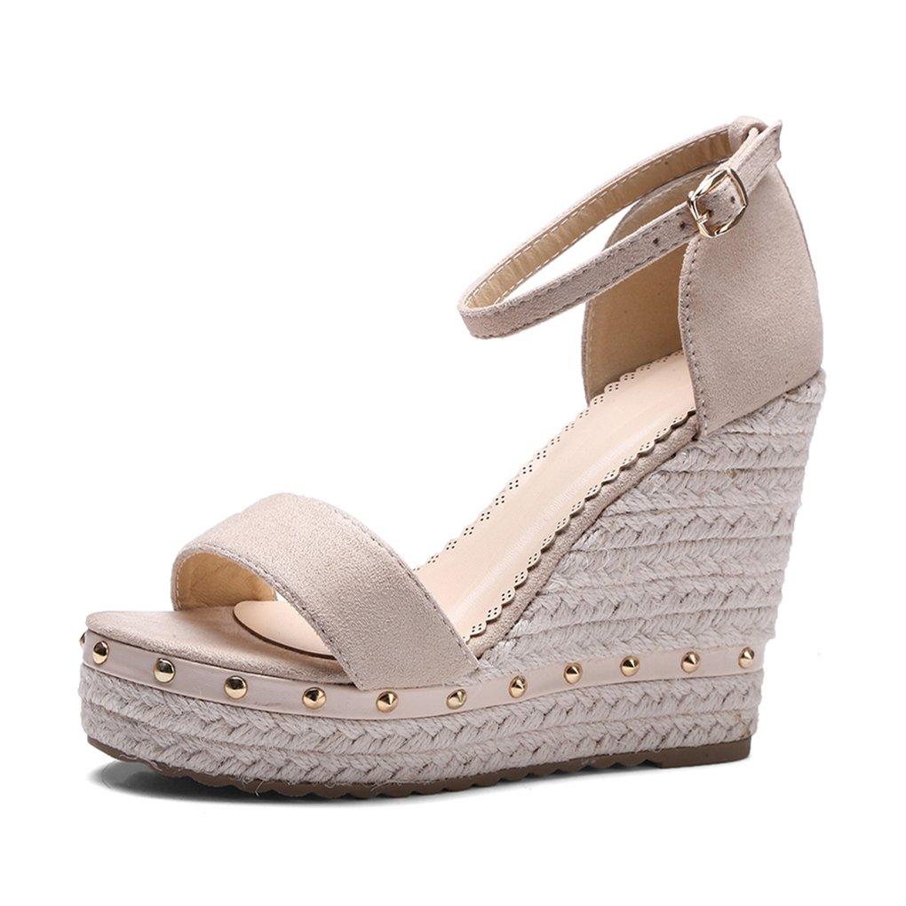 0343a68414ca9 Amazon.com  Genepeg Womens Sandals Platform High Heels Ankle Strap Rivet  Wedges Sandals Ladies Shoes  Sports   Outdoors