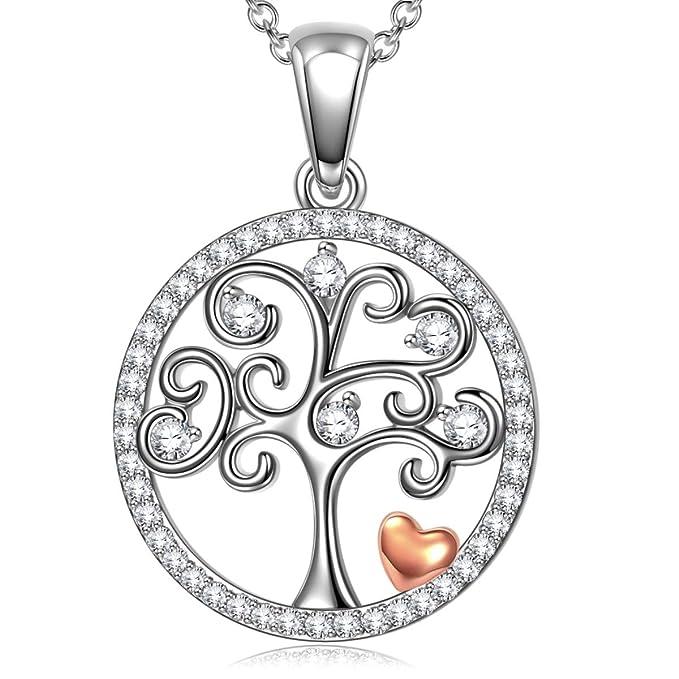 ANGEL NINA Dia de la madre Árbol de la Vida Collar de Mujer, 925 de Plata, Filosofía Estética Única, Cada Momento Especial, Diseño Romantico Elegante Original