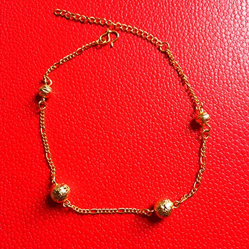 18k alluvial Gold Foot Chain Anklet Ankle Bracelet Jewelry European Currencies Vietnam nansha Transport Minimalist cat Fade Gilt Simulation (Single Transfer Beads