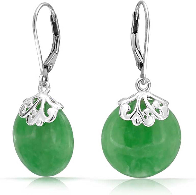 Estilo Bali Piedras Preciosa Teñido Jade Disco Redondo Gotas Filigrana Colgante Pendiente De Plata Esterlina 925 Mujer