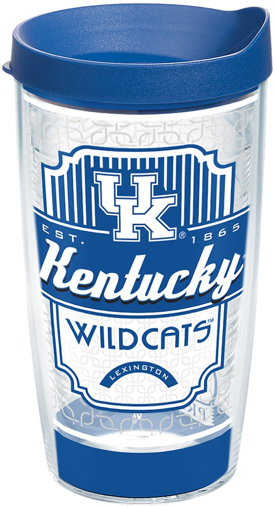 Tervis 1228718 Kentucky Wildcats Pregame Prep Tumbler with Wrap and Blue Lid 16oz, Clear