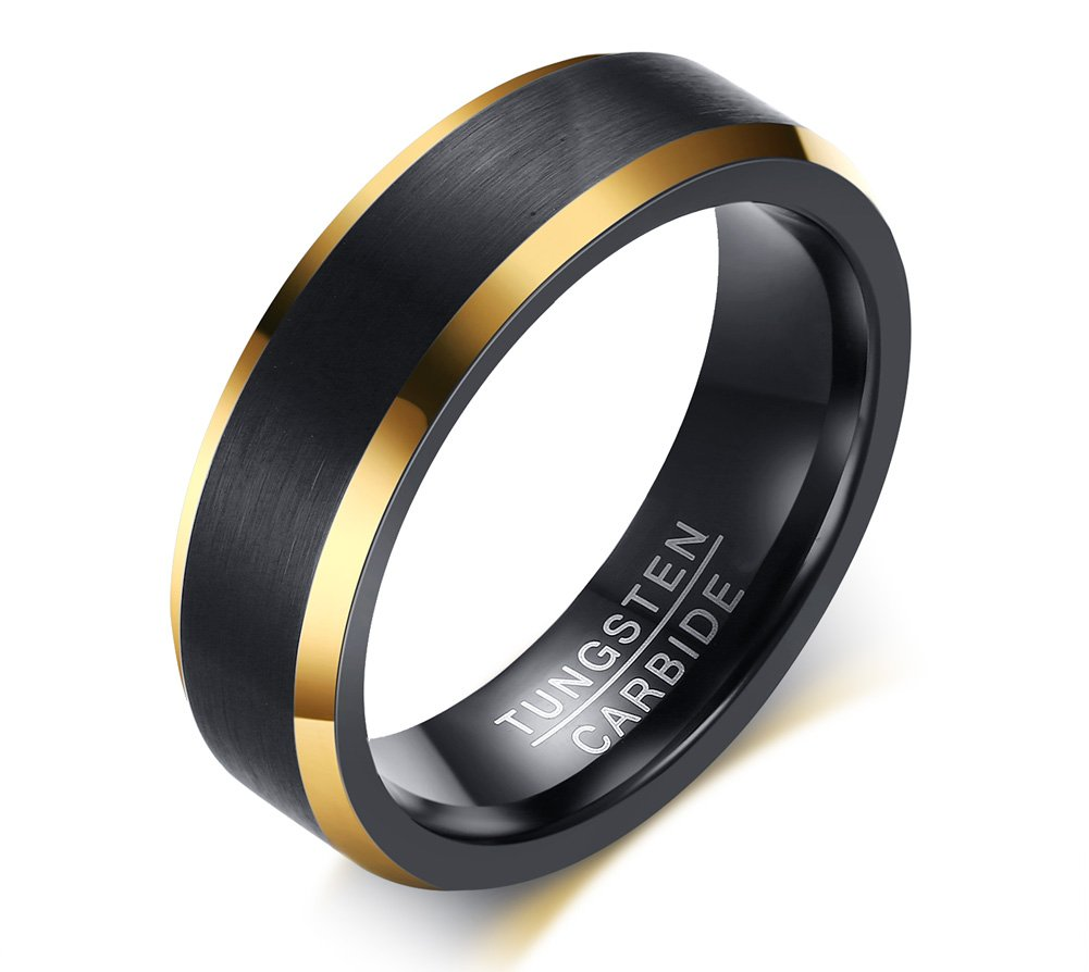 6mm Brushed Finish Tungsten Carbide Two-tone Black Gold Wedding Engagement Promise Ring Bands for Men,size 9