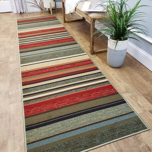CUSTOM CUT 31-inch Wide by 15-feet Long Runner, Multicolor Stripes Non Slip, Non-Skid, Rubber Backed Stair, Hallway, Kitchen, Carpet Runner Rug – Choose your Width by Length