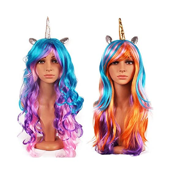 Amazon.com: MonkeyJack 2/set Girls Rainbow Unicorn Pony Long Curly Hair Wigs Unicorn Birthday Party Costume: Clothing