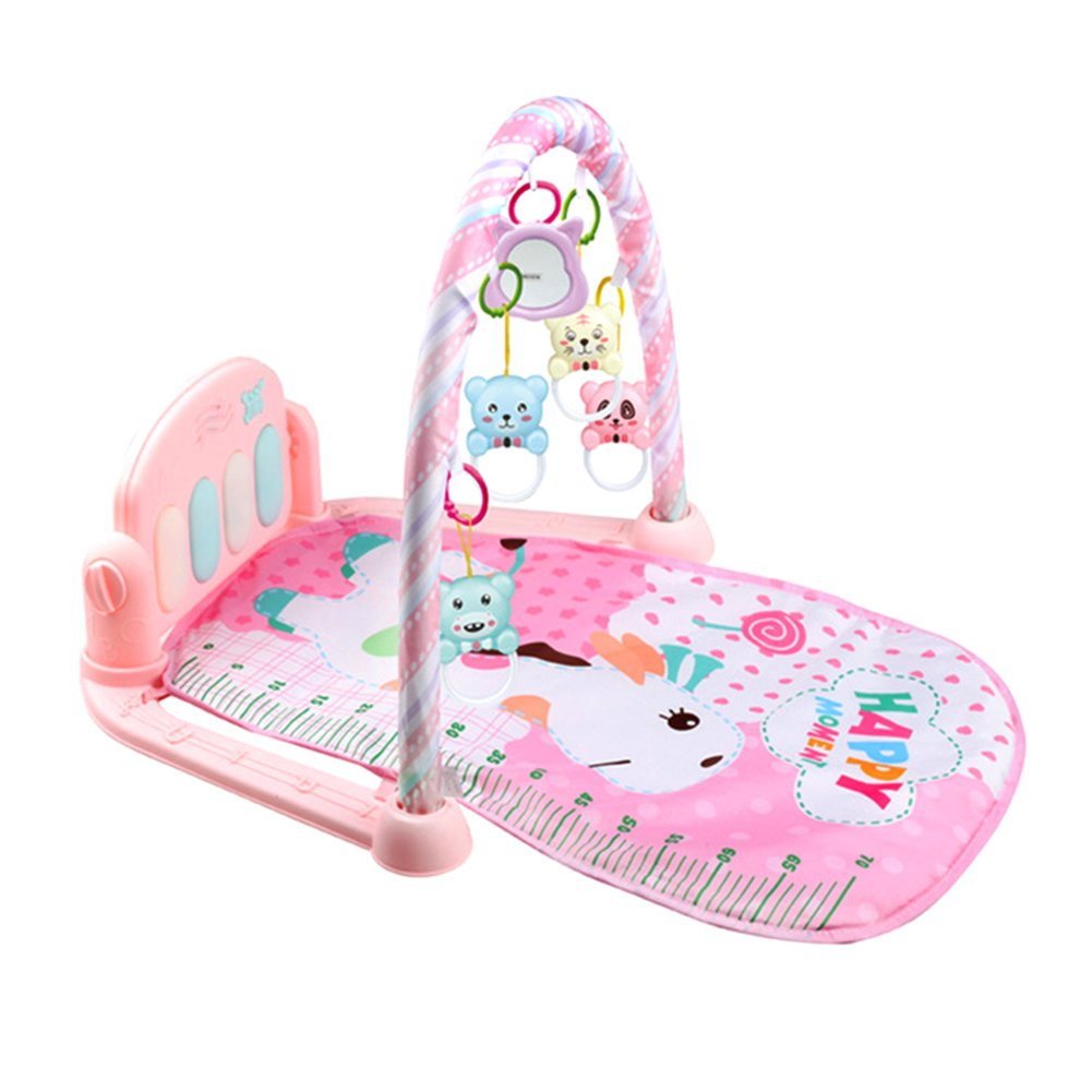 Majome Baby Play Mat,Play Piano Gym Fitness Music Lights Fun Piano Boy Girl Fitness Rack Early Education