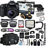 Canon EOS 80D DSLR Camera Bundle with Canon EF-S 18-55mm f/3.5-5.6 IS STM Lens + Professional Video Accessory Bundle includes ECKO Headphones, Microphone, LED Video Light and More. (28 items)