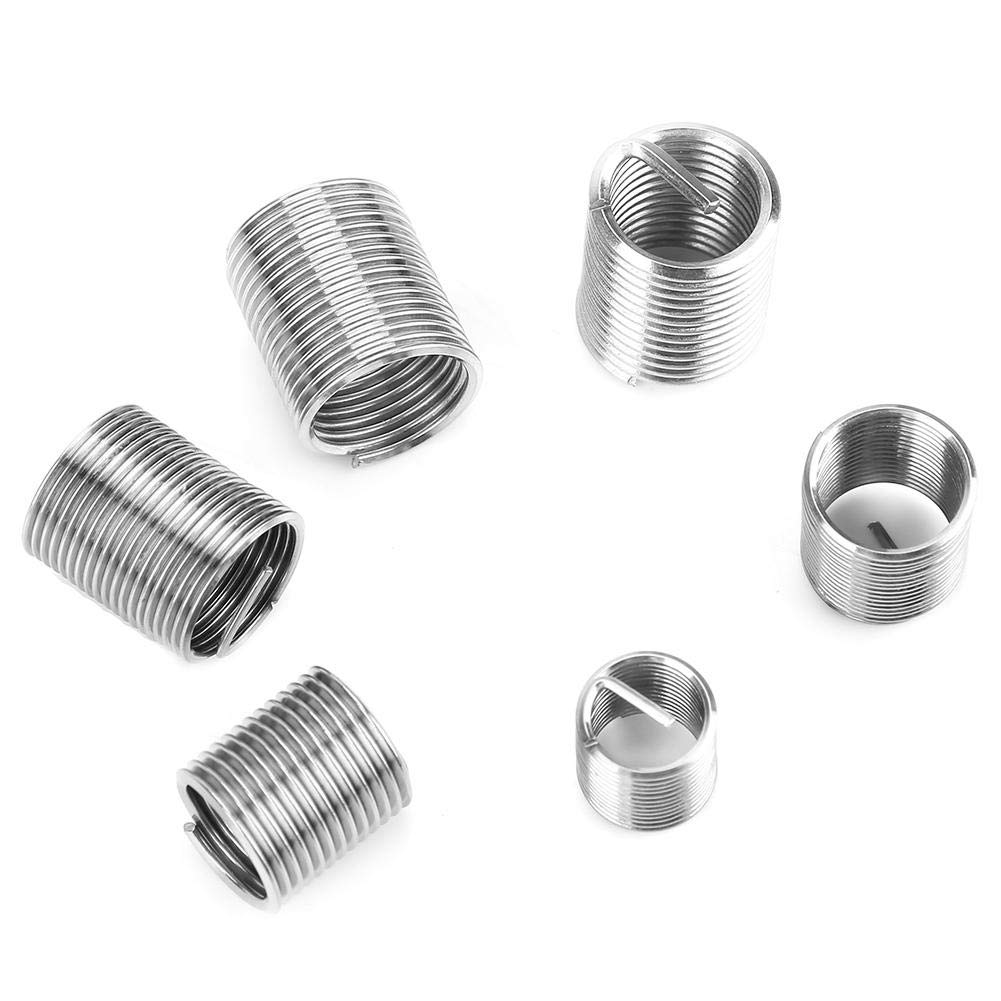 Samfox Fine Thread Stainless Steel Coiled Wire Helical Screw Thread Inserts Set M8 M10 M12 50pcs Thread Repair Insert