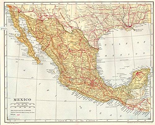 1914 Antique Mexico Map Original Vintage Map of Mexico and Baja California Not a Reprint Home Office Decor Gallery Wall Art (Mexico Antique)