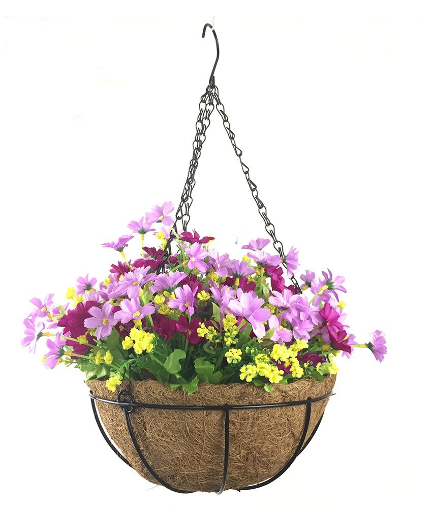 Lopkey Artificial Daisy Flowers Outdoor Indoor Patio Lawn Garden Hanging Basket with Chain Flowerpot,Light Purple 10 Inch