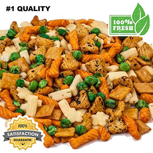Rice Crackers, Premium Crunchy Oriental Rice Crackers - European Nuts (1 lb Resalable Bag Fresh Rice Crackers) ()