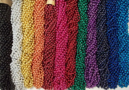 500 Promo Items Mardi Gras Gra Beads Necklaces Party Favors Case Lot 33'' 7mm by Unbranded*