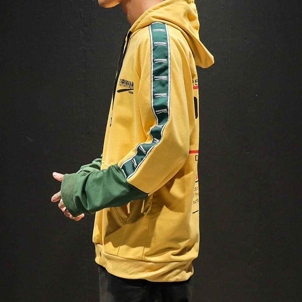 Mens Pullover Fleece Hoodie Long Sleeve Hooded SweatshirtKi-8Jcud Casual Tops Patchwork Sweatershirts