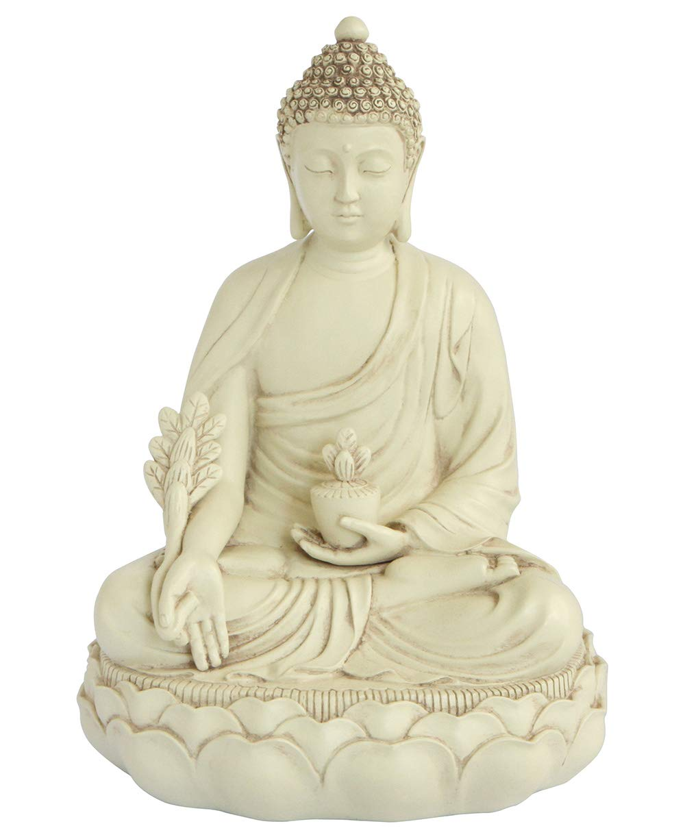 Buddha Groove Healing Medicine Buddha Statue with Elegant Off-White Finish and Made of Cast Stone in a Minimalist Serene Design 11.5 Inches Tall