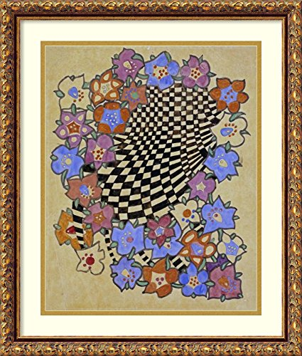Framed Wall Art Print Floral and Chequered Fabric Design, Circa 1916 by Charles Rennie Mackintosh 18.00 x 21.12