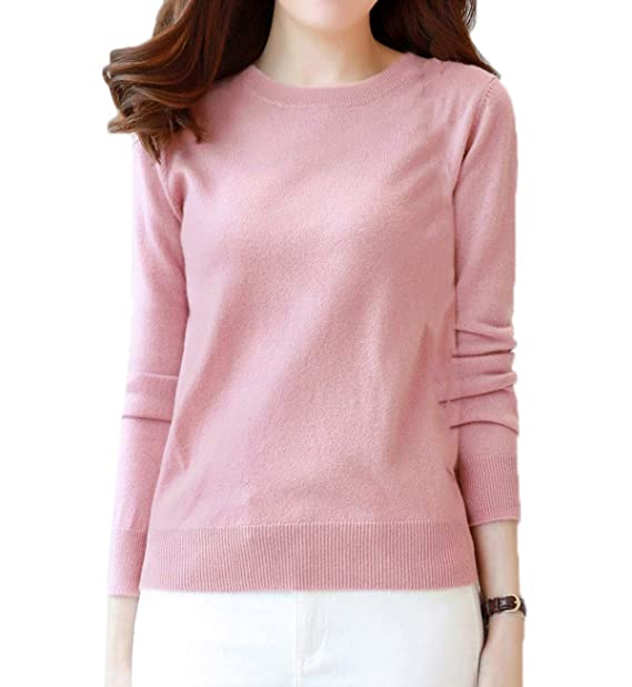 Simple-Fashion Otoño Invierno Mujeres Suéter Moda Slim Colores Lisos  Sweater Jerseys Blusa Pullover Casual Cuello Redondo Manga Larga Básico  Jerséis Pulóver ... 3fc1e37db2f4