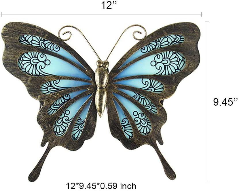 Liffy Metal Butterfly Wall Decor Outdoor Garden Fence Art Hanging Glass Decorations For Patio Or Bedroom Everything Else Amazon Com