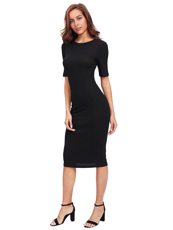 2bb2085f SheIn Women's Short Sleeve Elegant Sheath Pencil Dress at Amazon Women's  Clothing store: