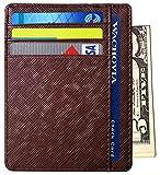 RFID Wallet Mens Slim Leather RFID Blocking Front Pocket Wallet Thin Card Holder