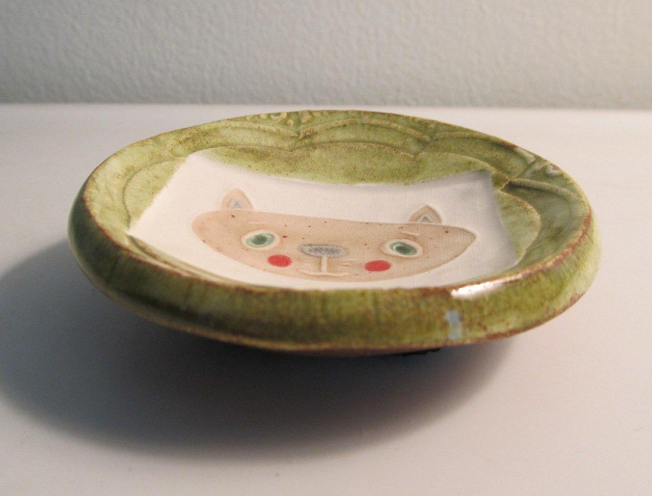 Handmade Pottery Mini Dish Cat Design