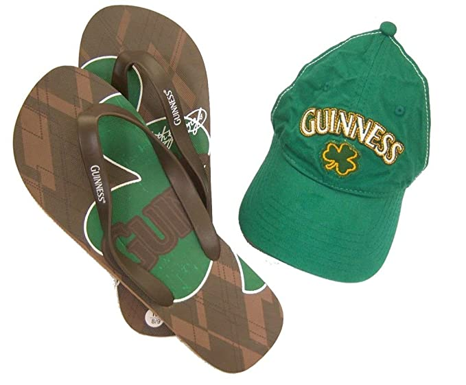 a0b52fb919d6 Guinness Beer Shamrock Green Baseball Hat Flip Flops Combo Set (10 11)