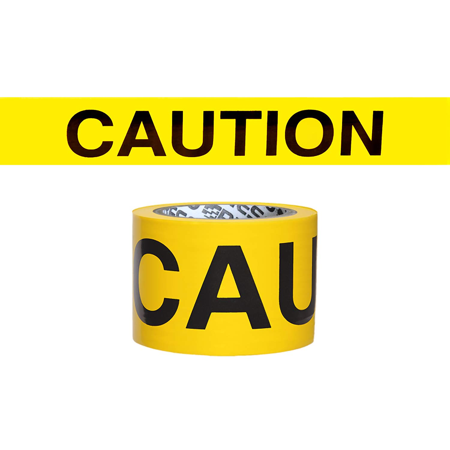 Presco Economy Printed Barricade Tape: 3 in. x 300 ft. (Yellow with Black'Caution' Printing) BARRIER/LC3300