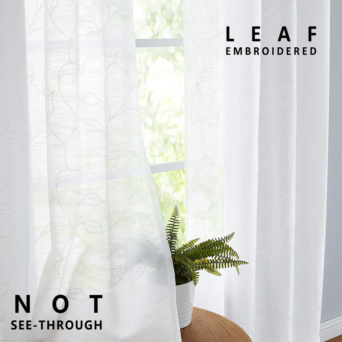 Embroidered Sheer White Curtains for Living Room 95 inches Long Leaf Window Curtain Draperies 2 Panels, Grommet Top