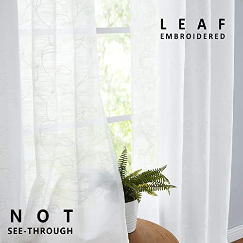 Treatmentex Leaf Embroidered White Sheer Curtain