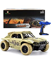 Gizmovine Remote Control Car Large Size Scale 4WD High Speed Vehicle 25km/h 2.4Ghz Radio Control Off Road RTR Racing Monster Truck Beast Short Course (yellow)
