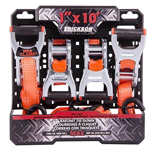 "Wholesale Erickson 31351 Orange 1"" X 15' Web Clamp Ratchet Tie-Down, 1500 lb. Load Capacity, Pack of 4"