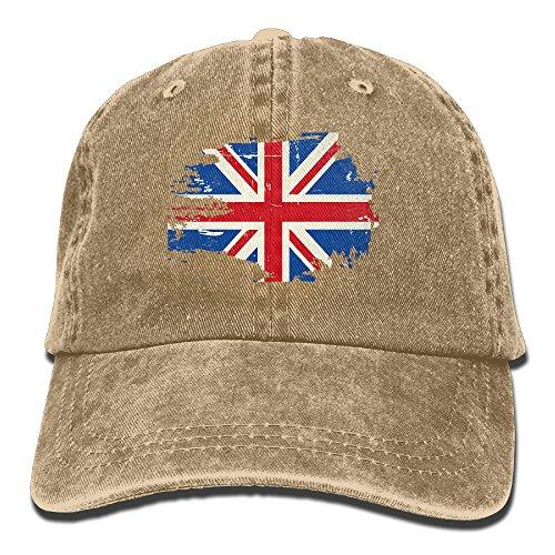 Brown Union Jack - HDRAY Unisex Adult UK British Flag Retro Washed Denim Cotton Sport Outdoor Baseball Cap Adjustable One Size