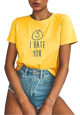 BLACKMYTH Mujer Redondo Manga Corta T-Shirt Tops Casual Hipster Algod/ón Tees Shirt
