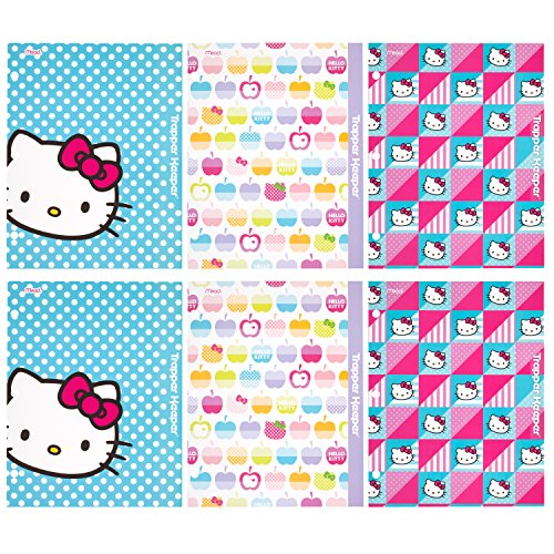 trapper-keeper-hello-kitty-2-pocket-folders-by-mead-assorted-designs-6-pack-73485