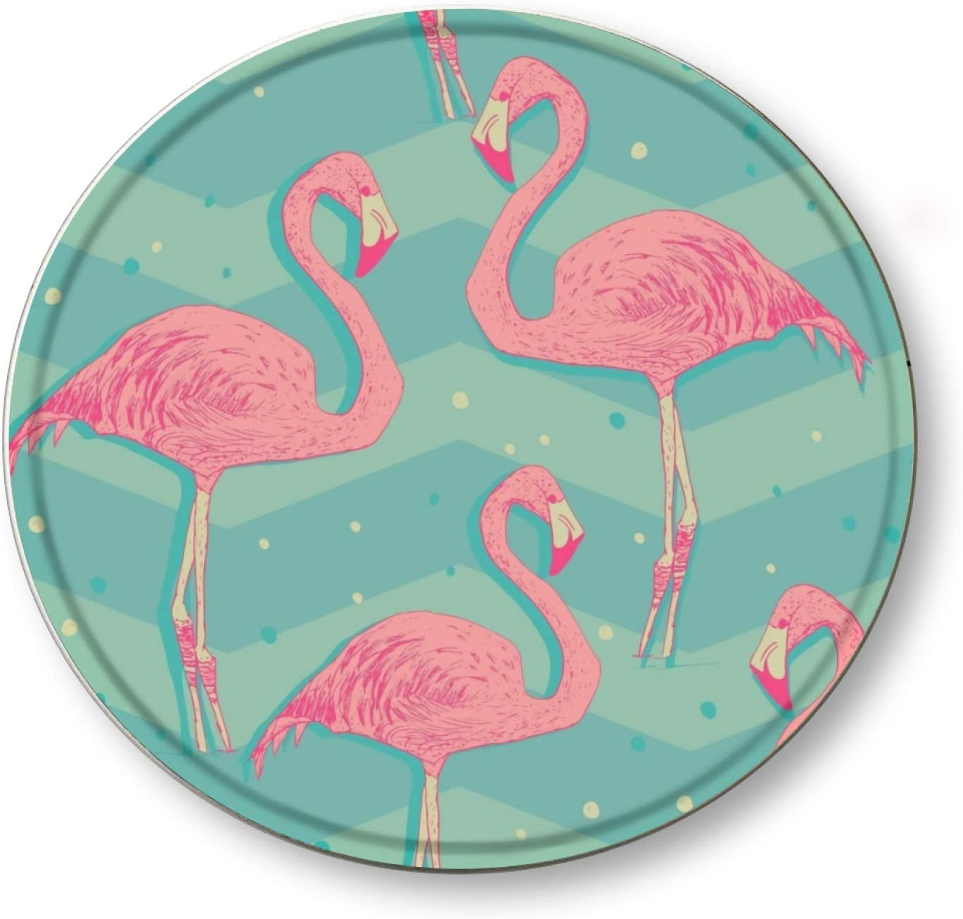 Ovonetune Flamingo Birds Vintage Style Concave Round Tin Sign, Retro Metal Round Tin Signs Decor Wall Art Posters Gifts for Door Plaque Home Bars Clubs Cafes, 12X12 Inches