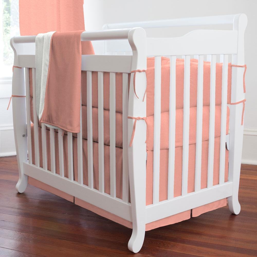 Carousel Designs Solid Light Coral Mini Crib Skirt Box Pleat