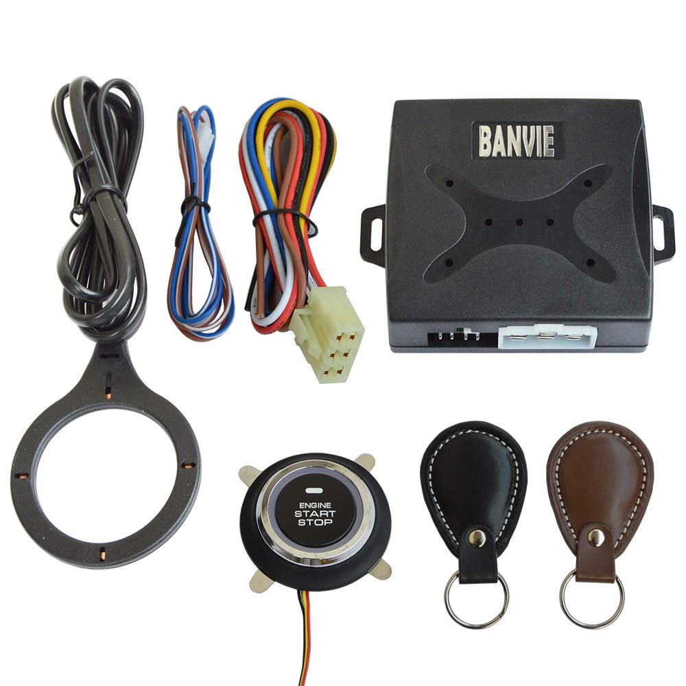 BANVIE Car Alarm RFID Immobilizer Hidden Lock System with Keyless Go Engine Start Stop Push Button for Vehicle Double Layer Start Protection ES002