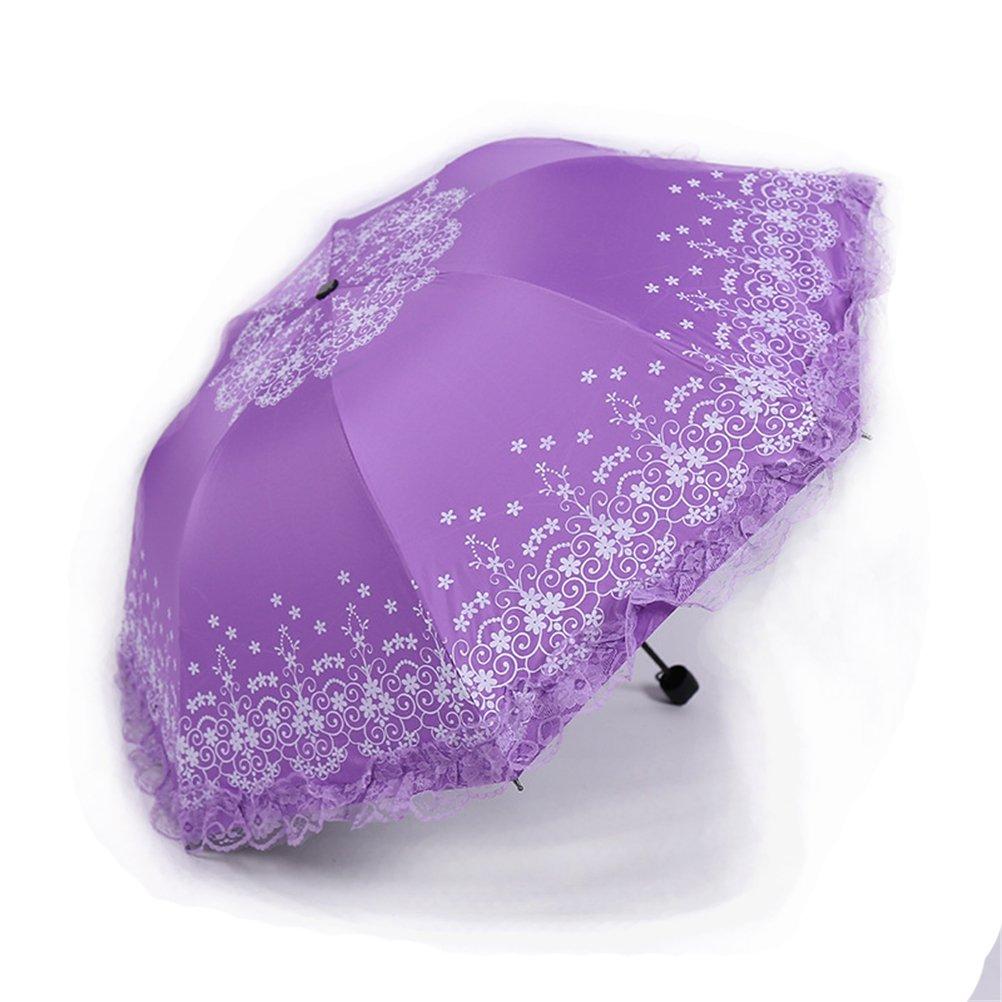 Maibar Parapluie Pliant Pêche Anti-UV Fleur Dentelle Parapluies Femme Ombrelle Parasol Umbrella Venteux Pluie en Été