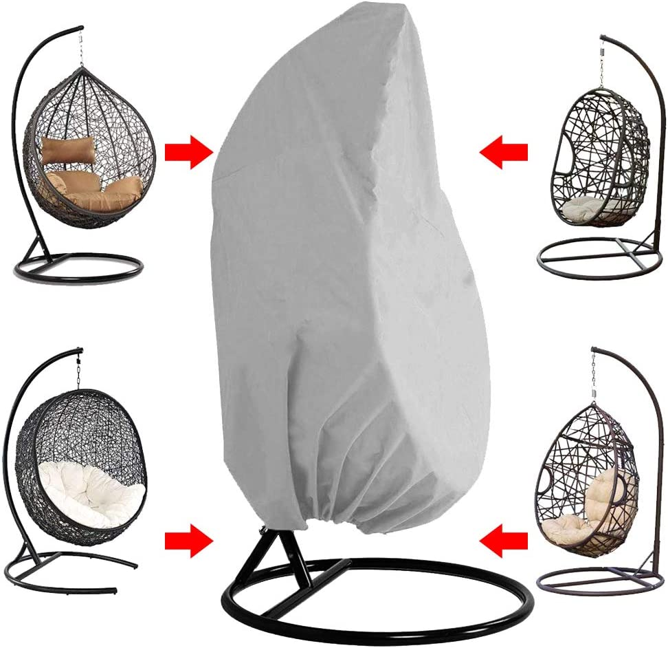 Black Alnn Veranda Hanging Chair Cover Waterproof Breathable 210D Oxford Fabric Patio Egg Chair Covers Wicker Swing Seat Cover for Outdoor Home Furniture Protect