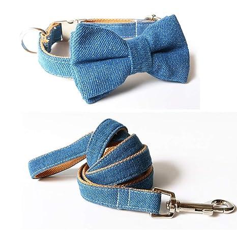 7°MR arneses para Perros Jeans Bow Tie Collar de Perro y Correa de ...
