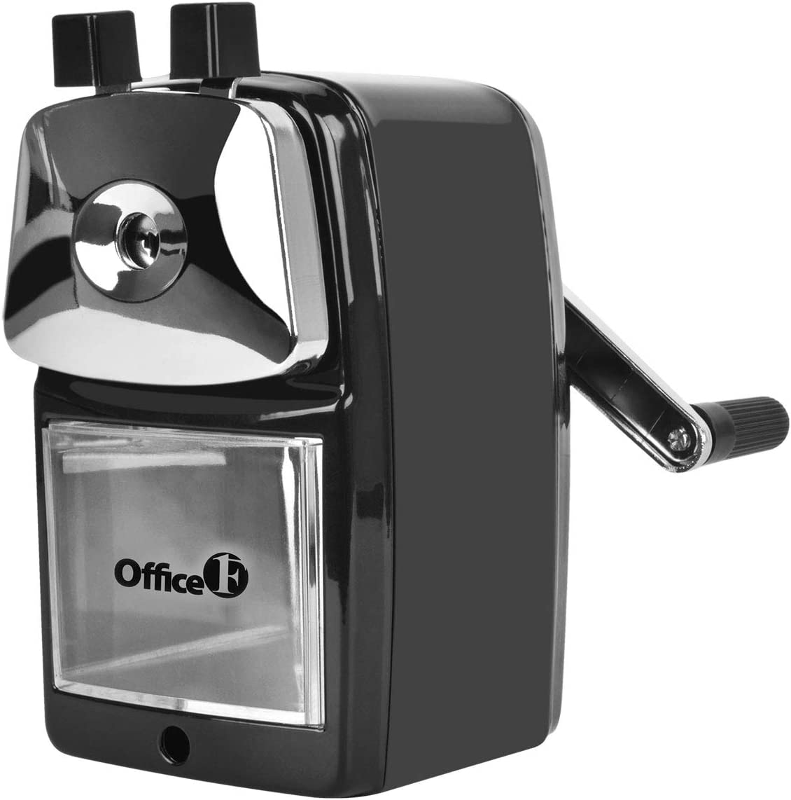 OFFICE1ST Manual Pencil Sharpener, Portable, Metal Body, Heavy-duty Helical Steel Blade, Suitable for Classroom, Office and Home (Black)