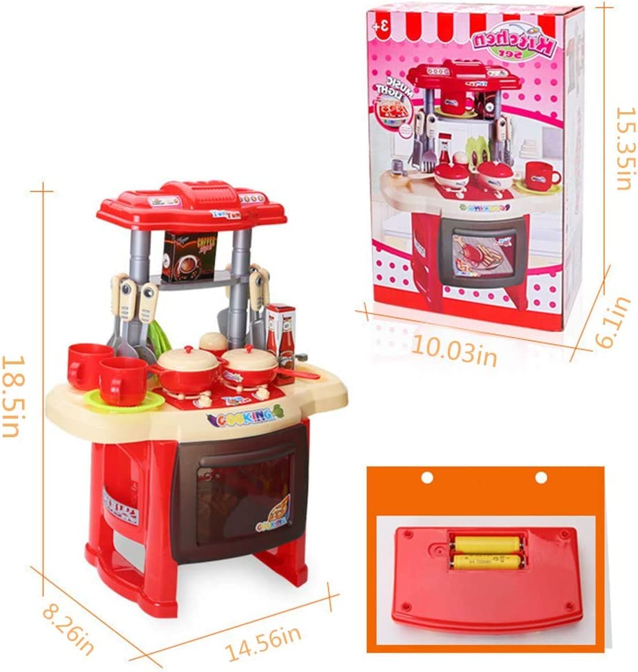 Homemade Kitchen-Role-Playing Kitchen Childrens Kitchen Toy Combination with Real Cooking and Boiling Water Sounds