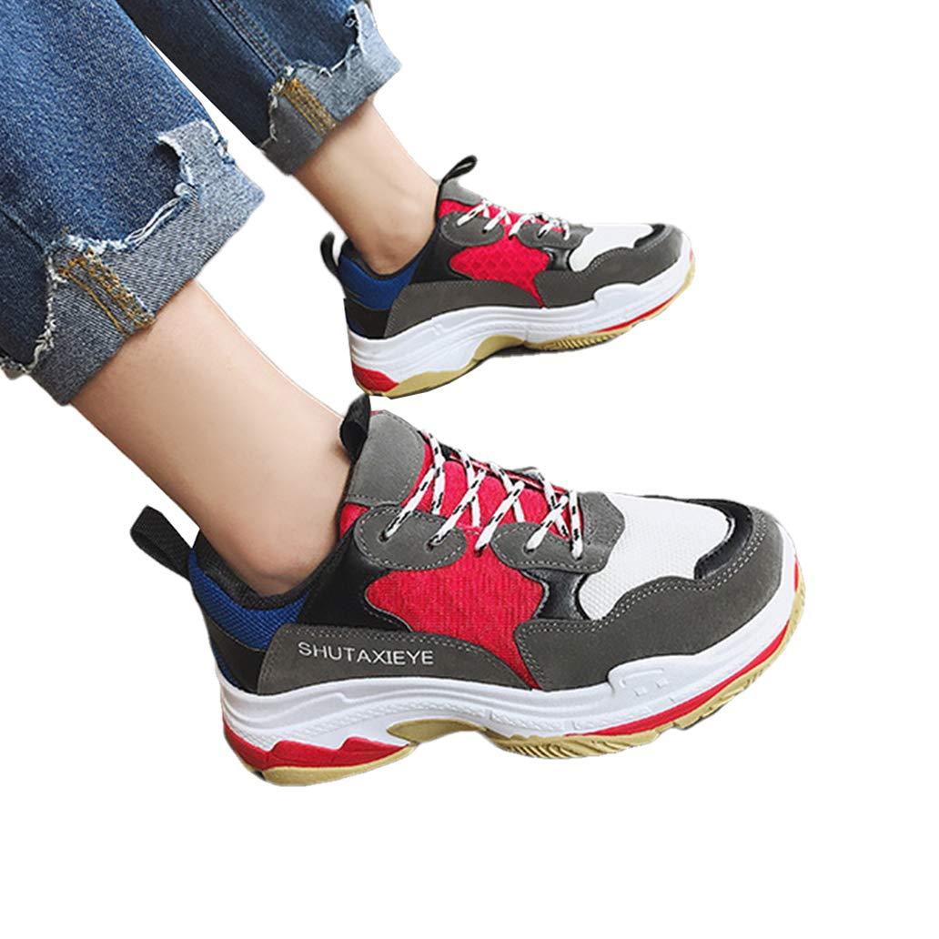 York Zhu Women Flat Platform Casual Shoes Thick Bottom Shoes Mesh Air Flat Sneakers