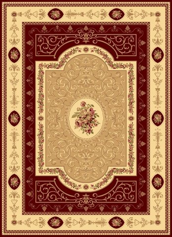 Rugs America New Vision Area Rug, 5-Feet 3-Inch by 7-Feet 10-Inch, French Aubusson Cherry - French Aubusson Rugs