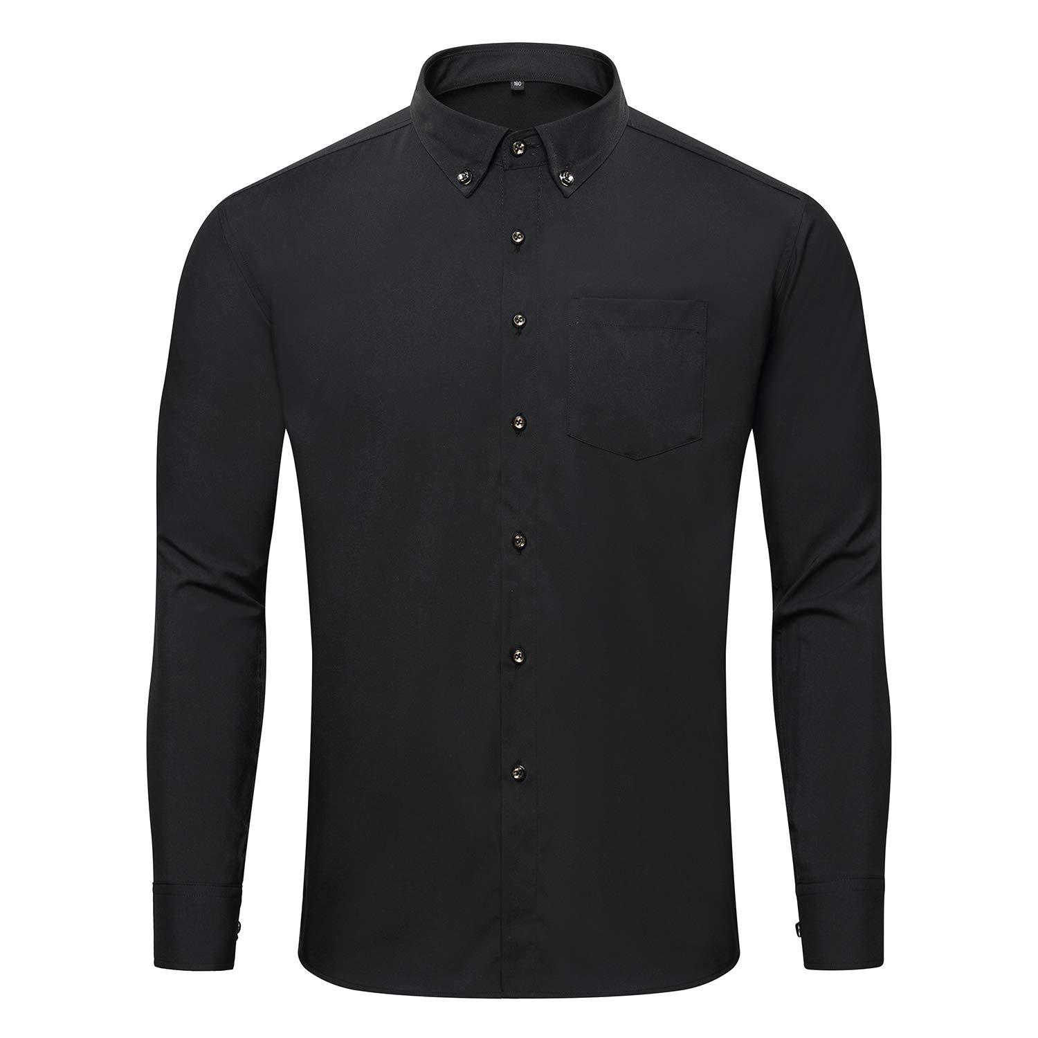 Jeopace Big and Tall Dress Shirts for Men Long Sleeve Button Down Black