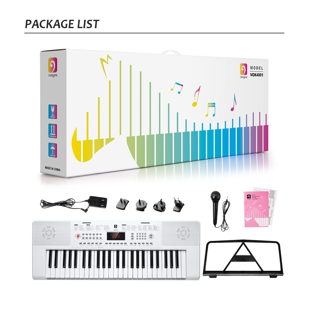 Electronic Keyboard Piano, 49-Lighted Key Electric Piano Keyboard with 3 Teaching Mode, Microphone, 200 Tones, 200 Rhythm, 50 Demo Songs, 5 Percussion, White by Vangoa (Image #8)